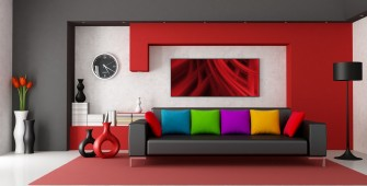 red color living room decor