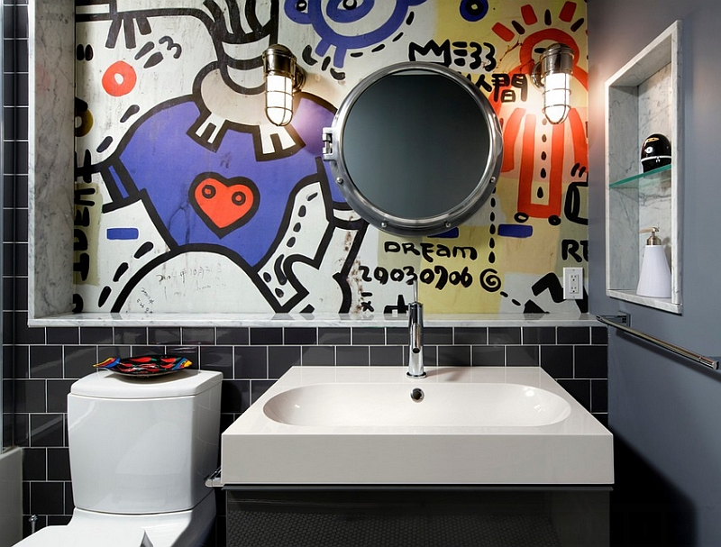 Contemporary-bathroom-with-a-graffiti-wall-mural