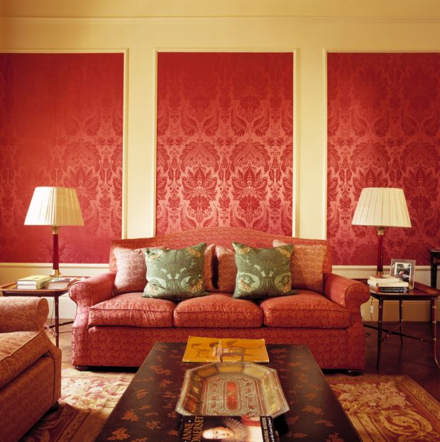 Grand Livingroom with Red Wallpaper, Image: 37672294, License: Rights-managed, Restrictions: , Model Release: no, Credit line: Profimedia, ewastock