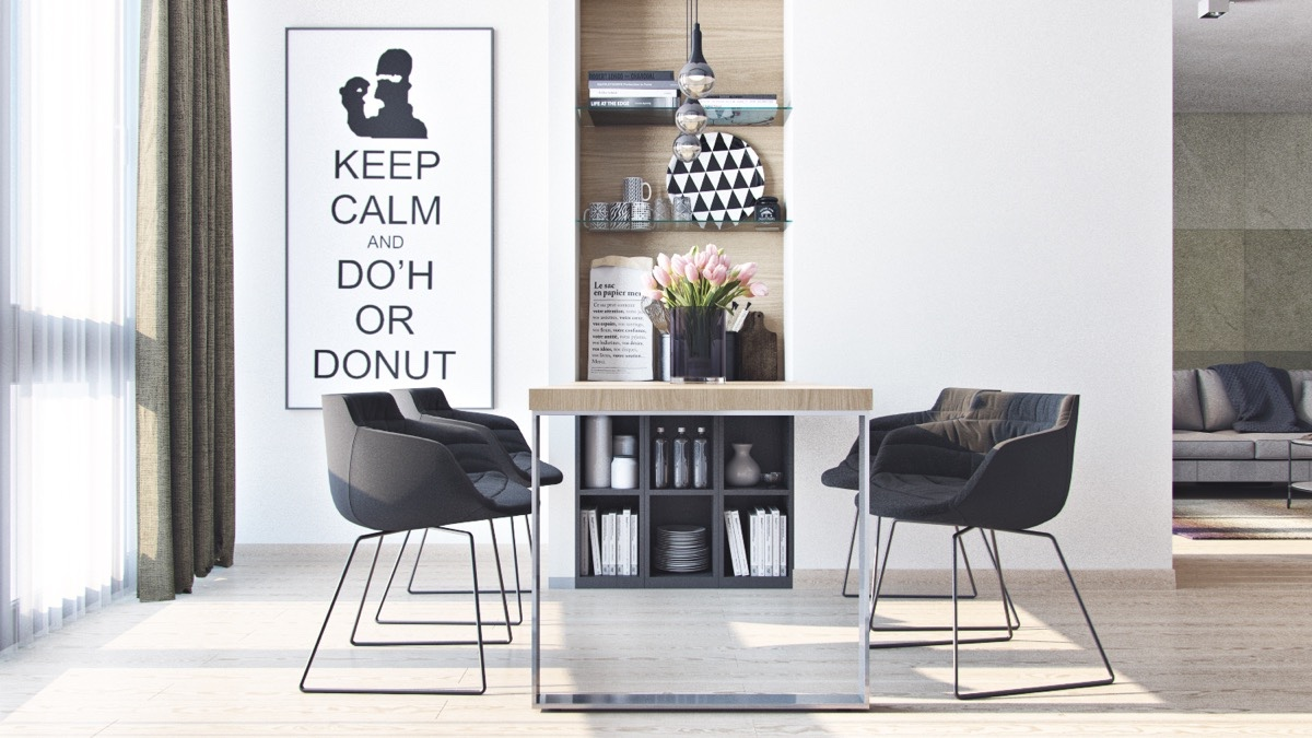 Black-and-white-Homer-Simpson-print-dining-room