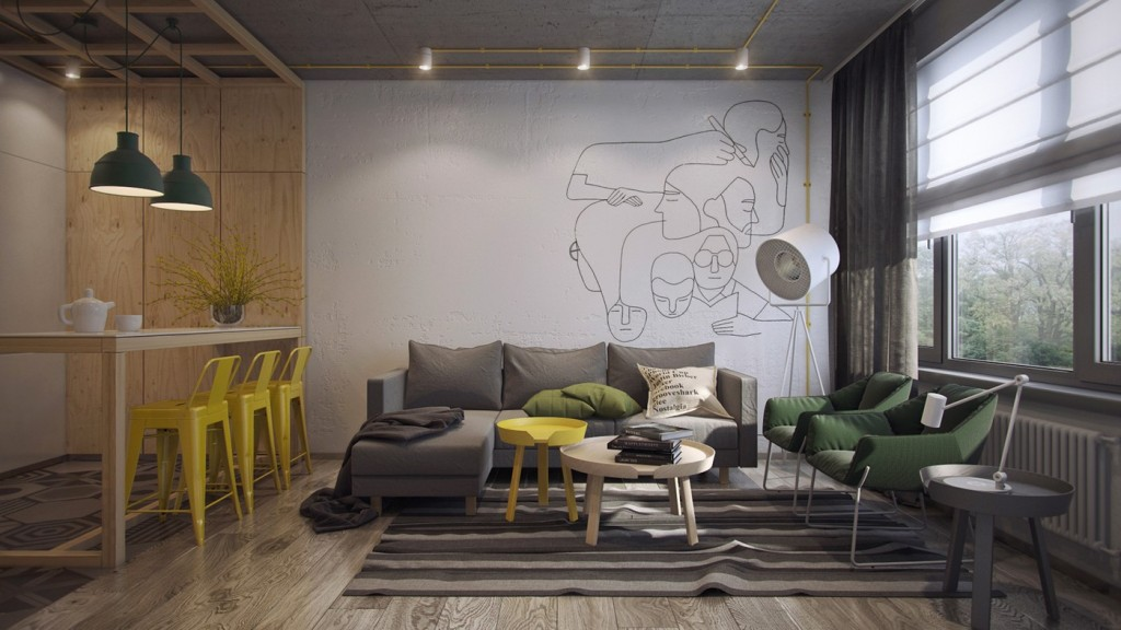 creative-living-and-dining-room-with-drawing-accent-wall