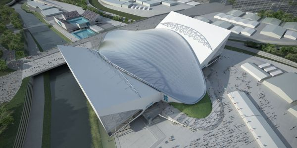 An artist?s impression of how the Aquatics Centre will look during Games time.