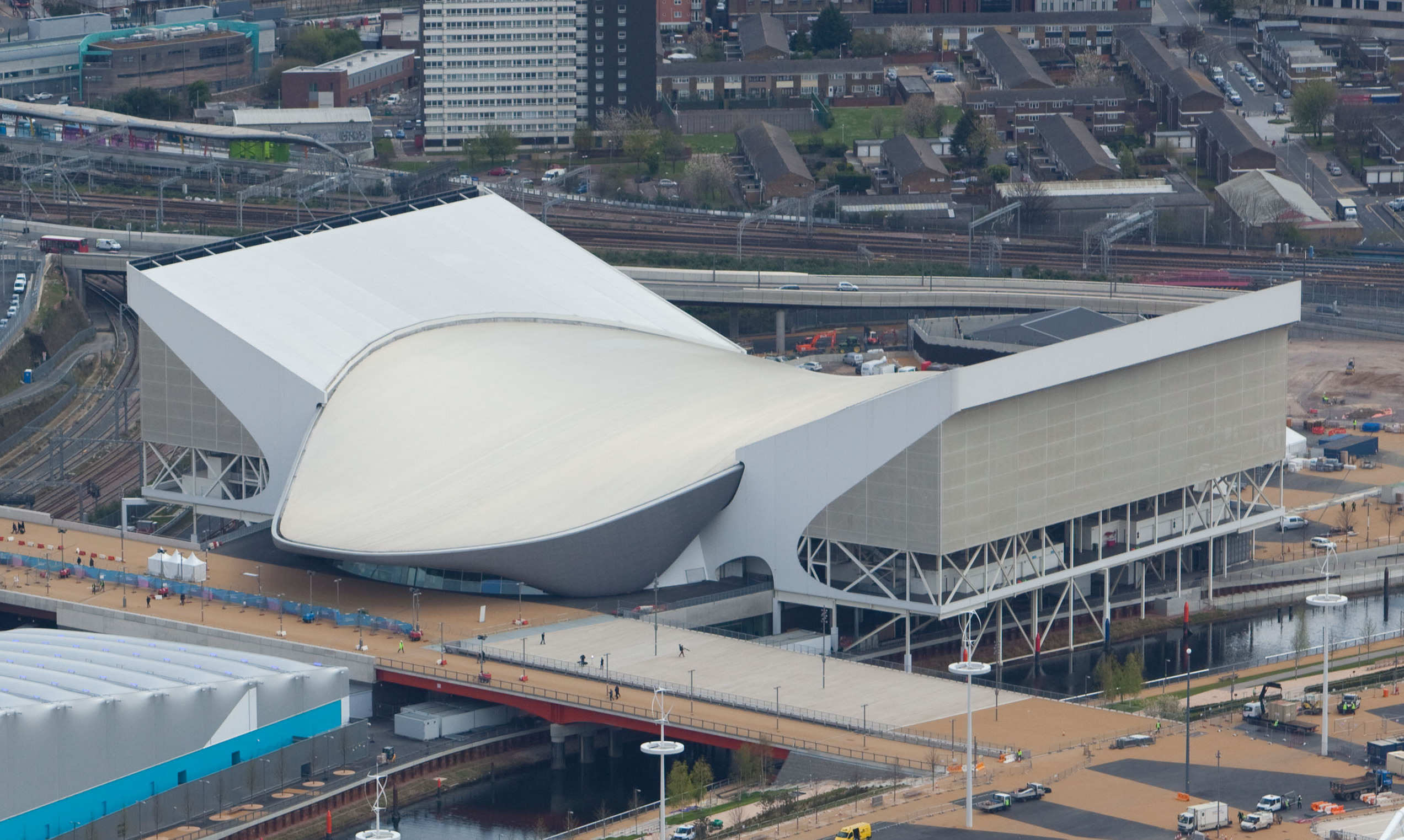 Aerial view of the Olympic Park showing the Aquatics Centre and the Water Polo Arena. Picture taken on 16 April 2012.